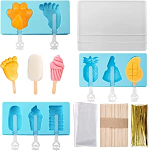 3pcs Popsicle Molds, DIY Silicone Ice Cream Mold with Lid and Sticks,with 50pcs Wooden Popsicle Sticks, 100 Popsicle Bags and Strings,Reusable, Quick and Easy Release Ice Pop Molds