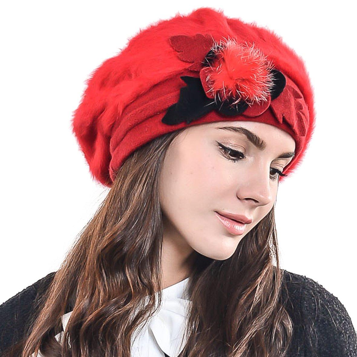 66de4043bf1 Women Classic French Artist Wool Beret Angora Beanie Winter Hat BR022 (Black )(Size  M)  Amazon.co.uk  Clothing