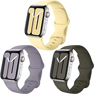 Misker Pack 3 Compatible with Apple Watch Band 38mm 40mm 42mm 44mm,for iWatch Series 5, 4, 3, 2, 1 (Concrete/Lemon/Olive, 42mm(44mm)-M/L)