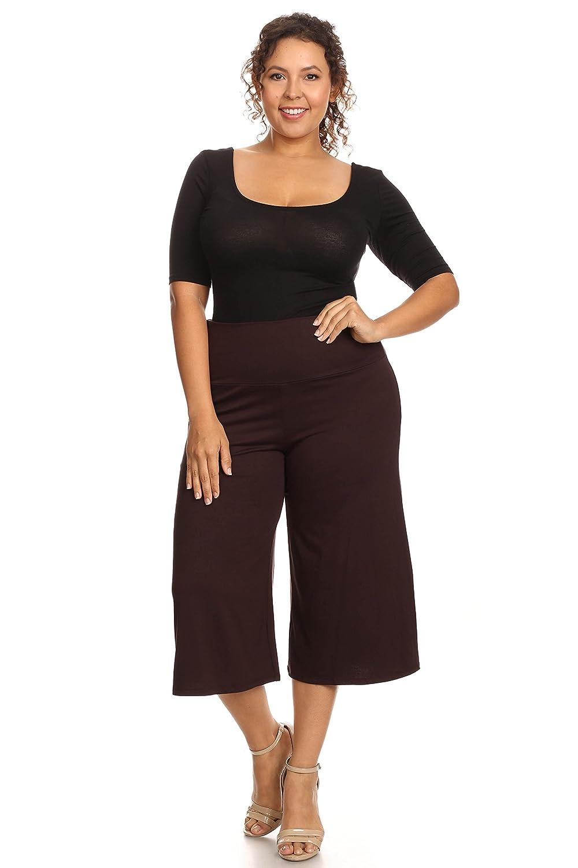 e0f4cc30f12 Plus Size Women s Gaucho Pants Knit Capri Culottes Lose Fit 1XL