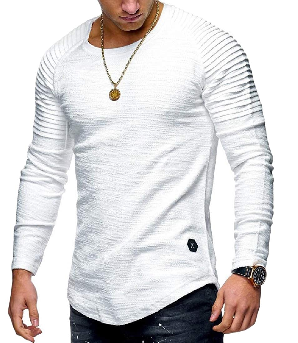 Sweatwater Men Long Sleeve Fashion Active Pleats Tops Round Neck T Shirts