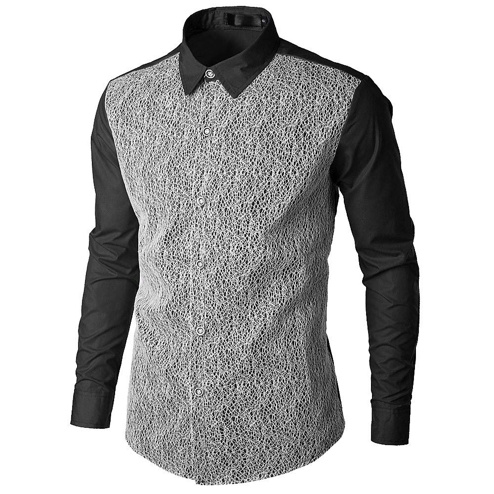 Luweki Mens Tops Sale Clearance Fashion Casual Lace Patchwork Shirts Turn-Down Collor Long Sleeve Shirt Blouse(Black,L