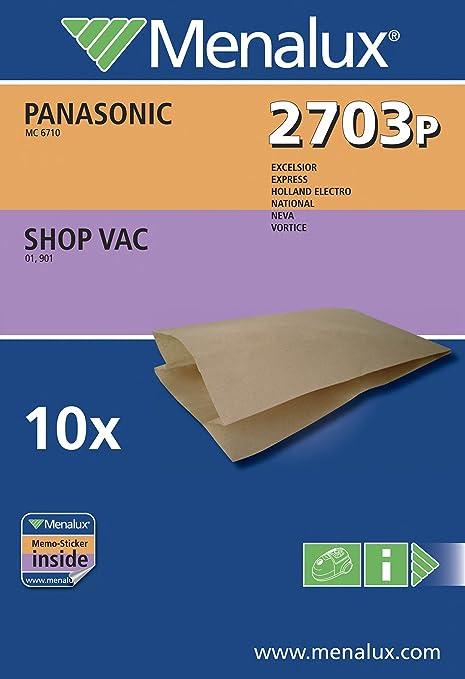 Menalux 2703 P - Bolsas para aspiradoras Panasonic y Shop Vac (10 unidades)
