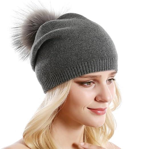 03b7874d742fb Women Knit Wool Slouchy Beanie Winter Soft Cashmere Blend Hat Real Fur  Pompom Ski Cap (