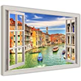 "GRAND CANAL VENICE 3D WINDOW EFFECT FRAMED PICTURES CANVAS WALL ART PRINTS MODERN ART HOME DECORATION SIZE: A2 - 24"" X 16"" (60CM X 40CM)"