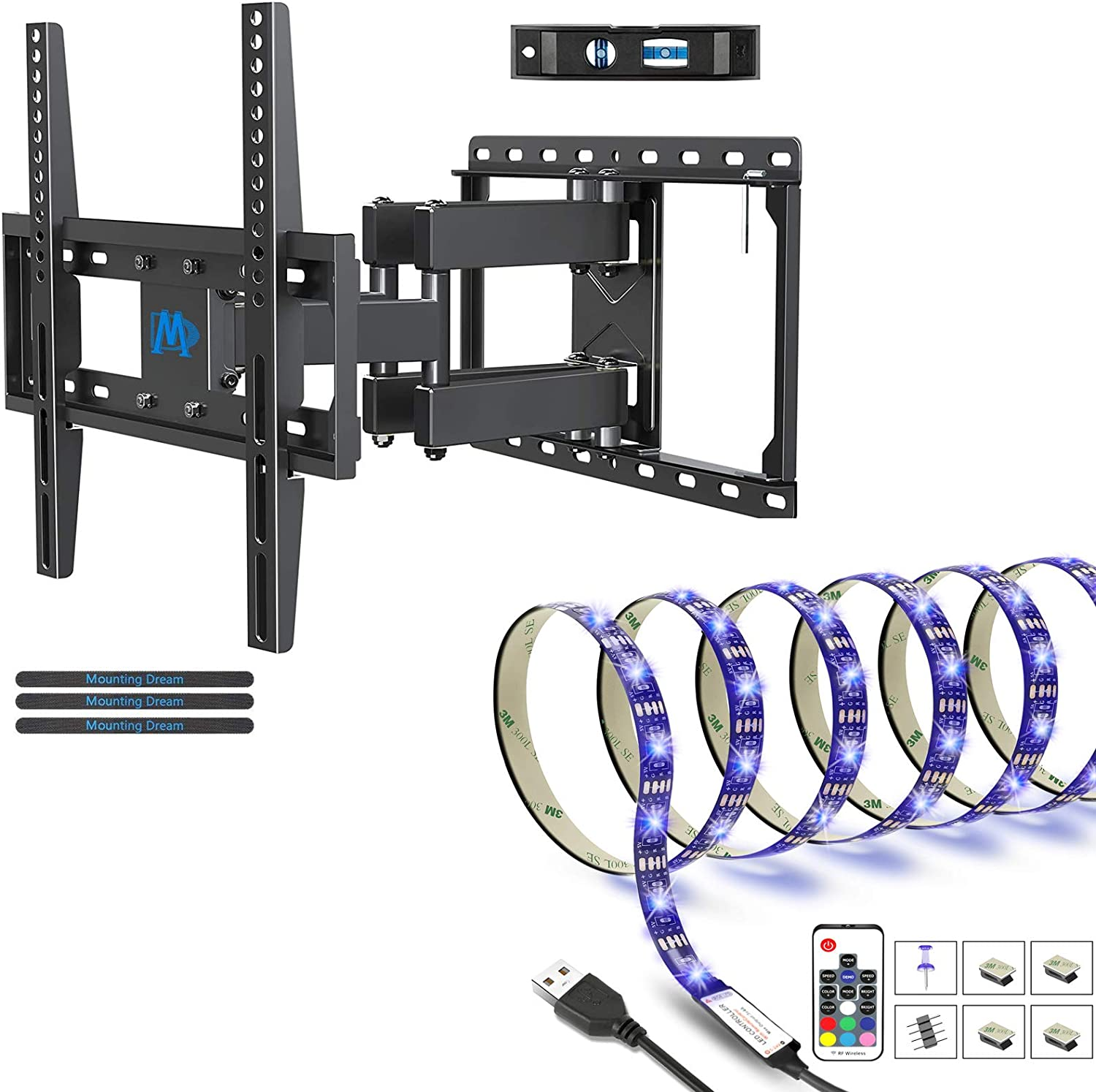 Mounting Dream UL Listed TV Mount TV Wall Mount with Swivel and Tilt MD2380 for Most 32-55 Inch TV and Led TV Backlight with Remote 9.8ft for 42-70 inch TVs MD50S425
