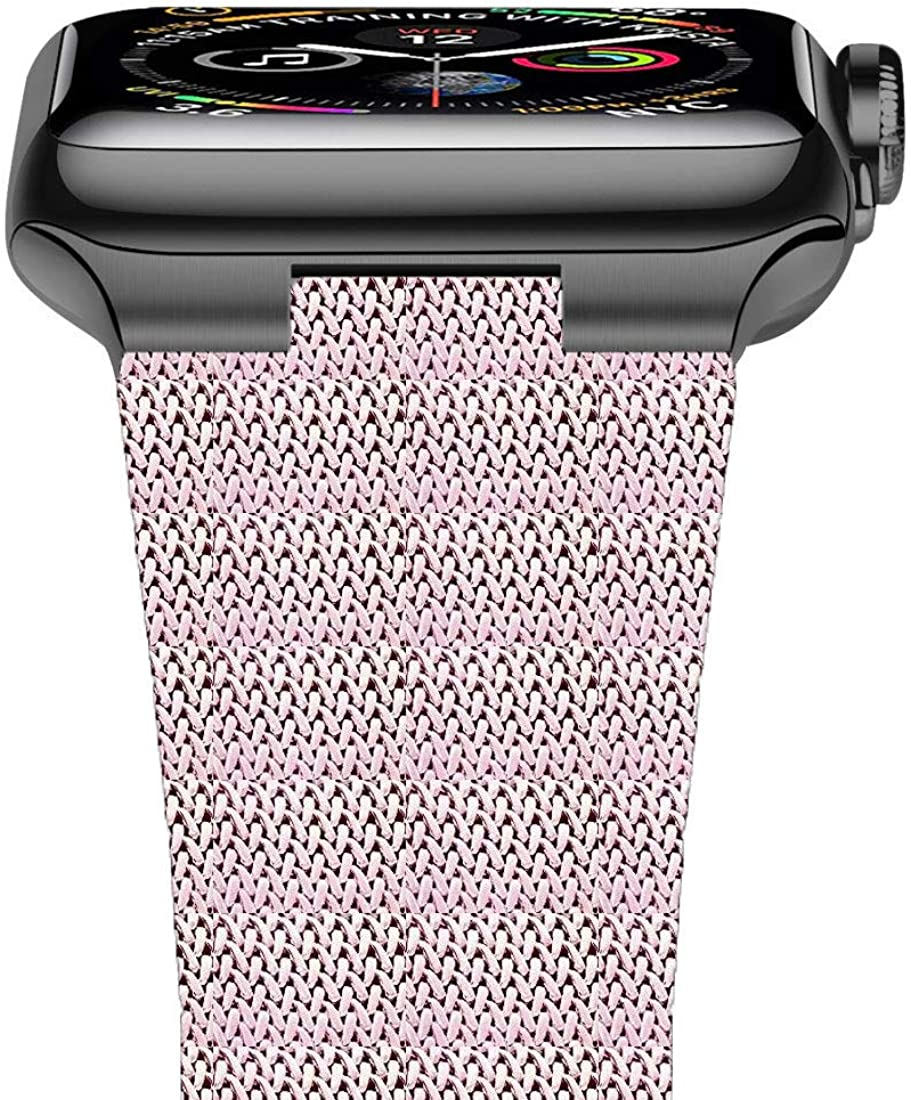 FnKer Compatible with Apple Watch Band 38mm 40mm 42mm 44mm, Stainless Steel Milanese Mesh Loop Magnetic Band Compatible with Iwatch Series 4/3/2/1