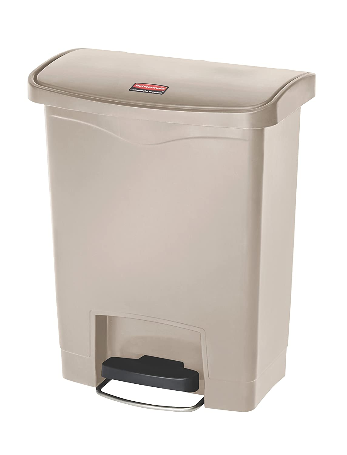 Rubbermaid Commercial Products Slim Jim Step-On Plastic Trash/Garbage Cans, 8 Gallon, Plastic Front Step Step-On, Beige