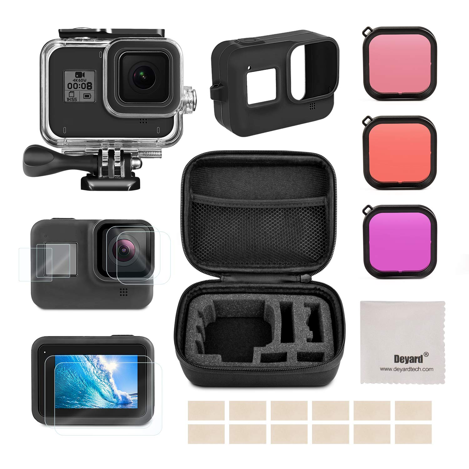 Deyard Accessories Kit for GoPro Hero 8 Black with Shockproof Small Case + Waterproof Case + Tempered Glass Screen Protector + Silicone Cover + Lens Filters + Anti-Fog Inserts Bundle for GoPro Hero 8 by Deyard