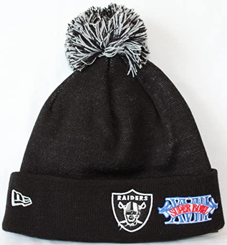 Image Unavailable. Image not available for. Color  Oakland Raiders Super  Bowl Patch Big Team Cuffed Pom Knit ... 0e06488be