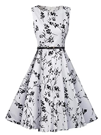 057f984e8b36 FEOYA Women s Petite Vintage Floral Hepburn Retro 1950s Midi Party Dress at  Amazon Women s Clothing store