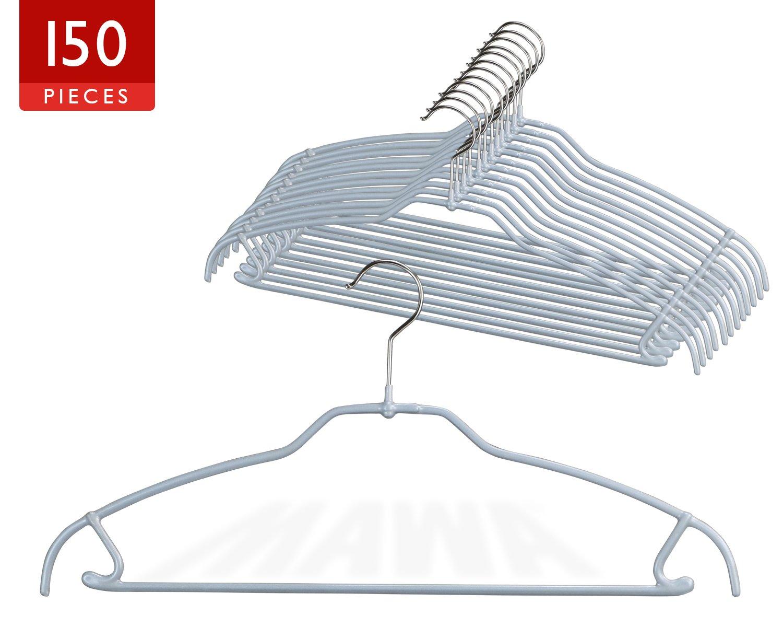 MAWA Style 42-FTU Reston Lloyd Silhouette Ultra Thin Non-Slip Clothing Hanger, Pack of 150 Silver