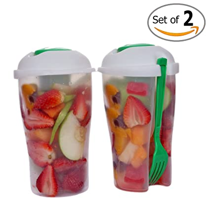 Fresh Salad Container Serving Cup Shaker With Dressing Container Fork Food Storage Bonus Recipes Use This Bowl For Picnic Lunch To Go Made With High