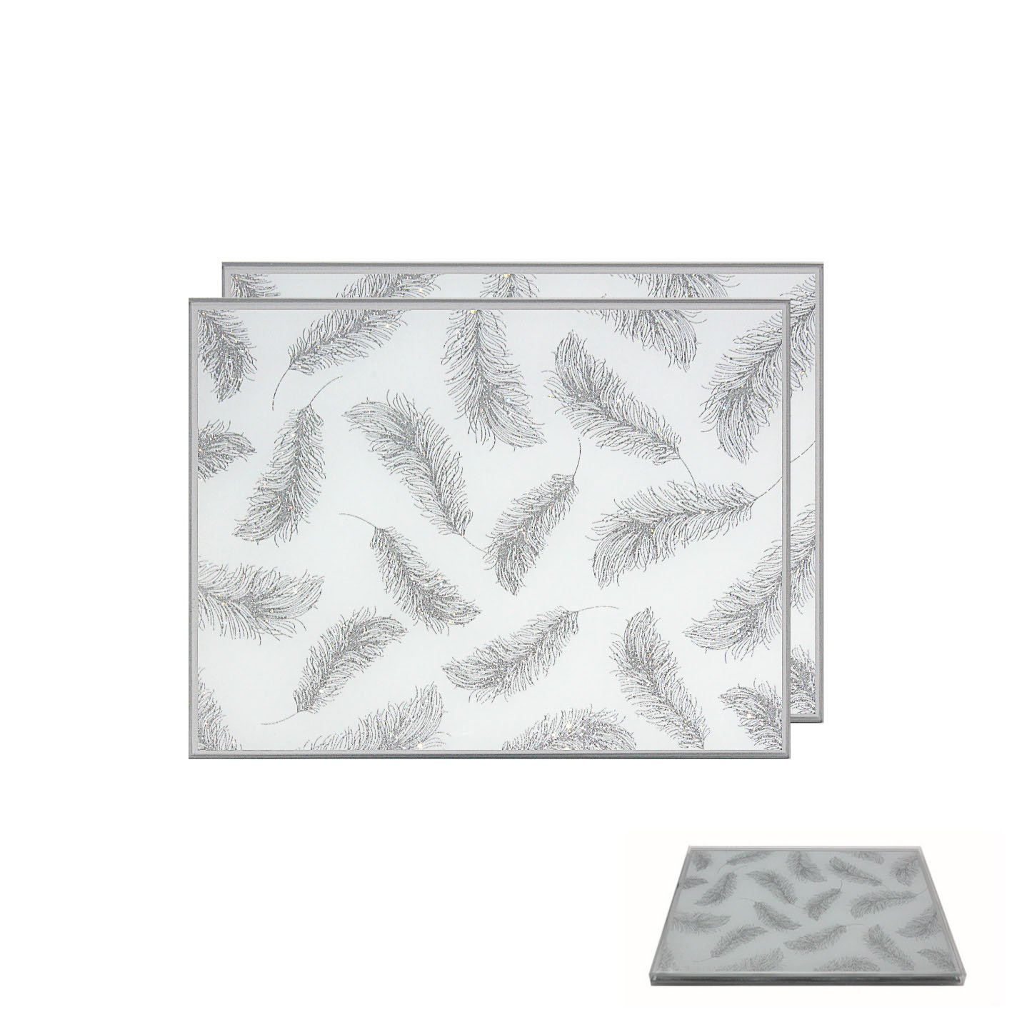 Elegant Glass Silver Glitter Feather Pattern Placemat and Coaster Set (Set of 2 Placemats)