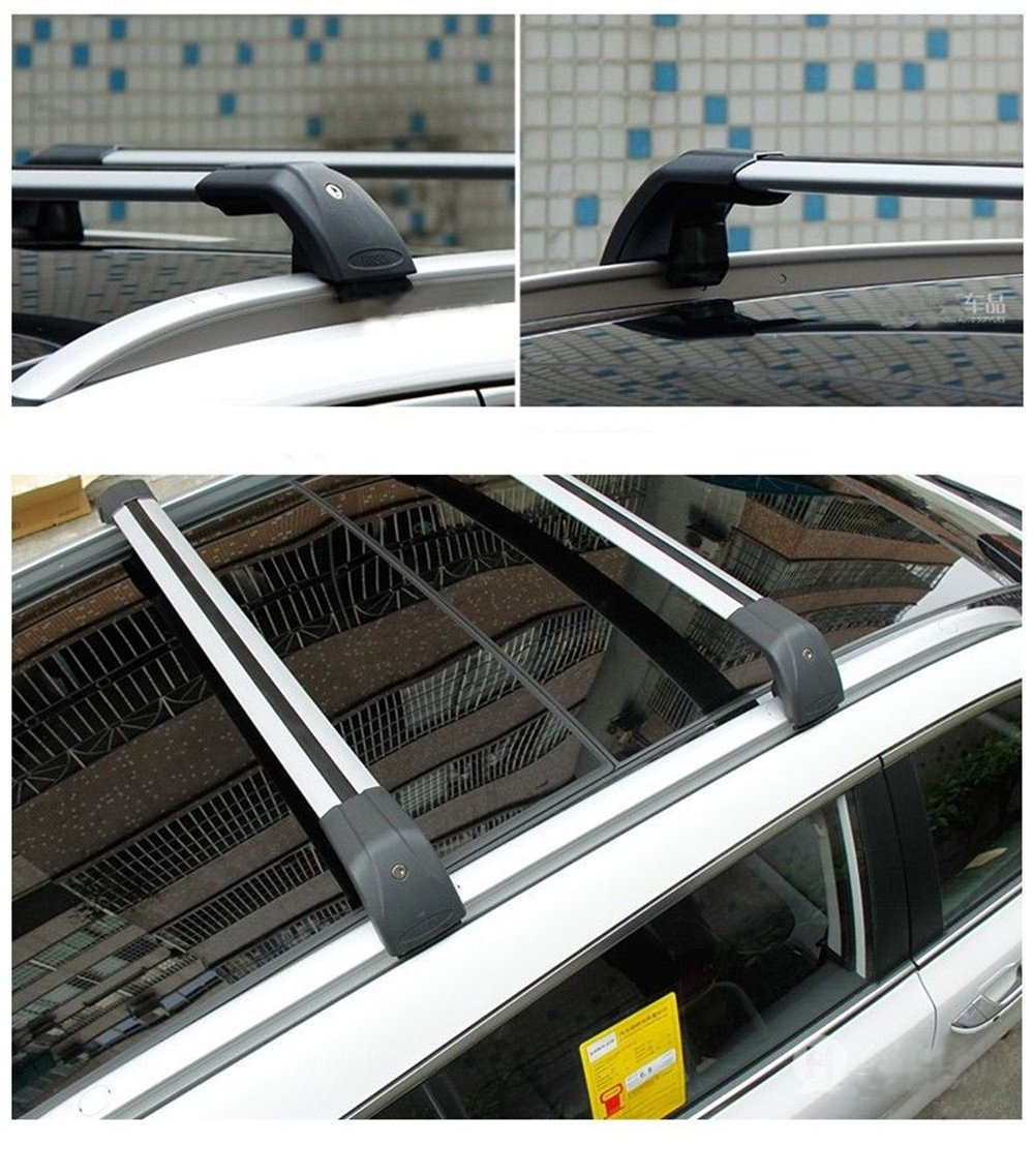 Lequer Cross Bars Crossbars Fits for KIA New Sportage 2016 2017 2018 2019 Baggage Carrier Luggage Roof Rack Rail Lockable Adjustable Silver