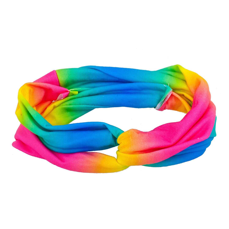 Amazon.com   Lux Accessories Multicolored Colorful Rainbow Fabric Stretch  Fashion Headbands   Beauty 99e94189e8e