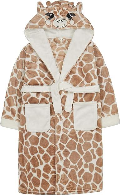 4Kids Childrens//Girls Novelty Giraffe Fleece Dressing Gown with Tail 2-13 yrs