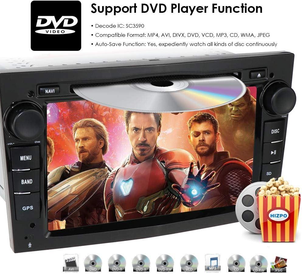 Black Double Din Car Stereo Radio Android 9.0 7 Inch Touch Screen in Dash GPS Navigation Support WiFi Bluetooth Mirror Link SWC OBD for Opel Antara Vectra Crosa Vivaro Zafira Meriva