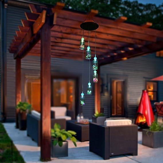 BALANSOHO Solar móvil viento, 6 botellas de deseo de color cambiante LED lámpara de techo luces de noche impermeable para al aire libre jardín decoración del hogar: Amazon.es: Jardín