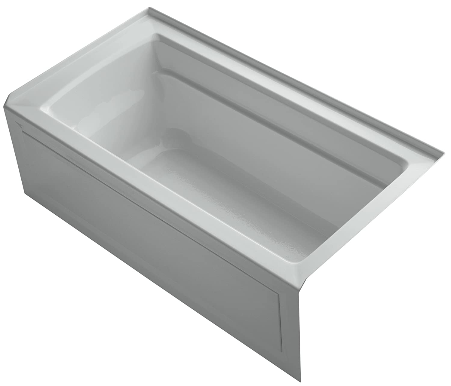 KOHLER K-1123-RA-95 Archer 5-Foot Bath with Comfort Depth Design, Integral Apron and Right-Hand Drain, Ice Grey