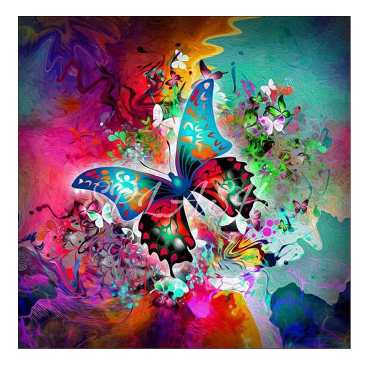 5D Diamond Painting Full Round Drill Kits for Adults Pasted Embroidery Cross Stitch Arts Craft for Home Wall Decor Butterfly and Flower 12x12in MXJSUA