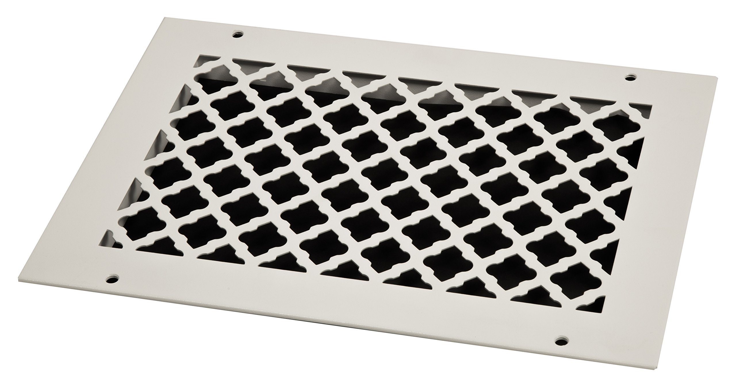 SteelCrest BTU12X8RWHH Bronze Series Designer Wall/Ceiling Vent Cover, with Mounting Screws, White