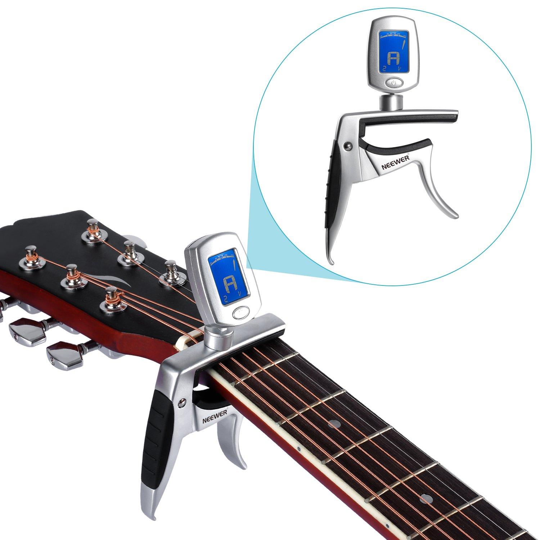 Neewer; 2 en 1 Multifunción Afinador Capo para guitarra, ukelele, violín, guitarra eléctrica, guitarra acústica, guitarra bajo: Amazon.es: Electrónica