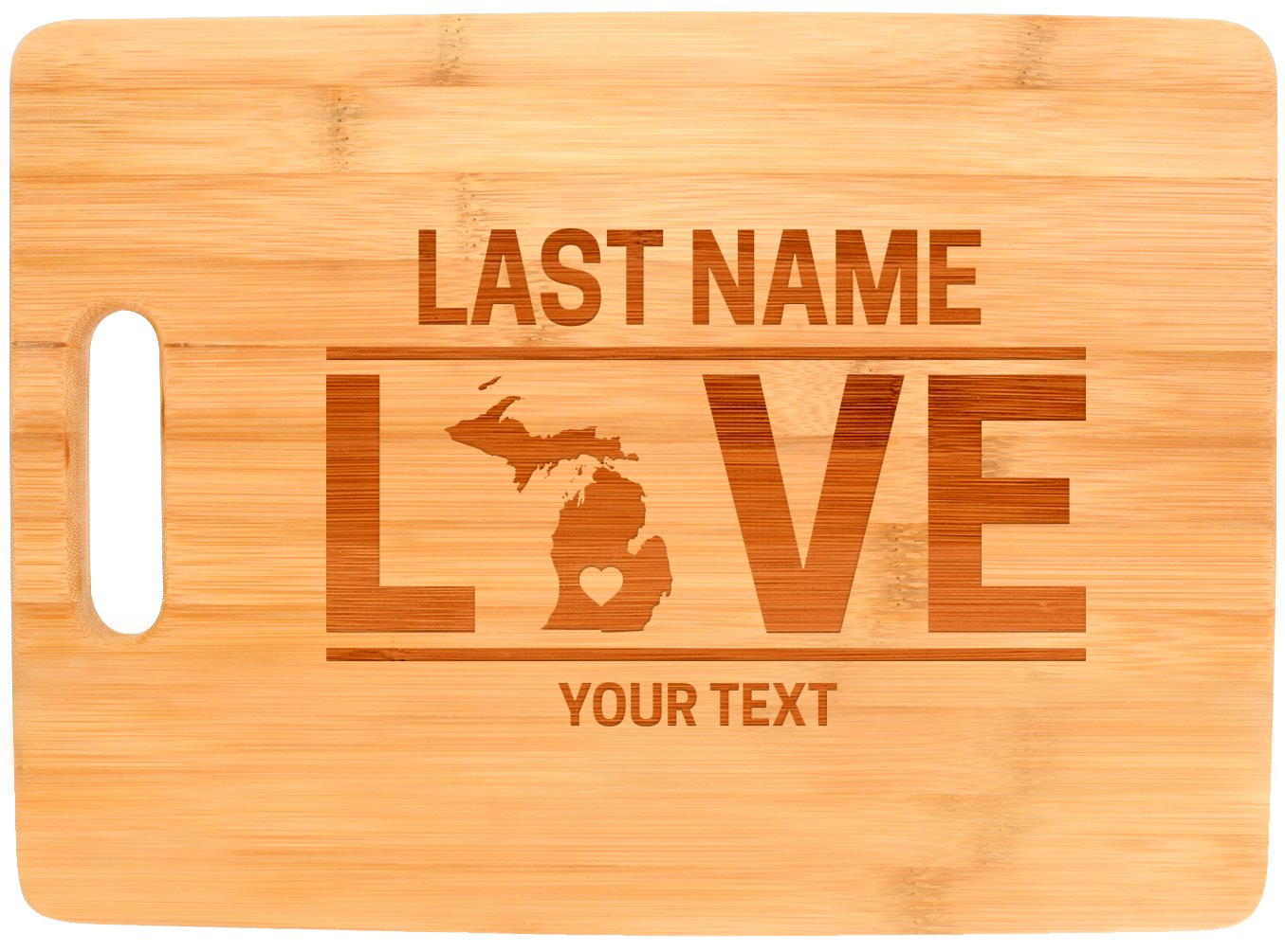 Custom Any Text Love Michigan State Great Lakes Personalized Big Rectangle Bamboo Cutting Board