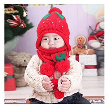 Transer® Bébé Hiver chaud Chapeaux et écharpes pour bébé enfants mignon  Fraise Chapeau Filles et 6c7ce7ed98a