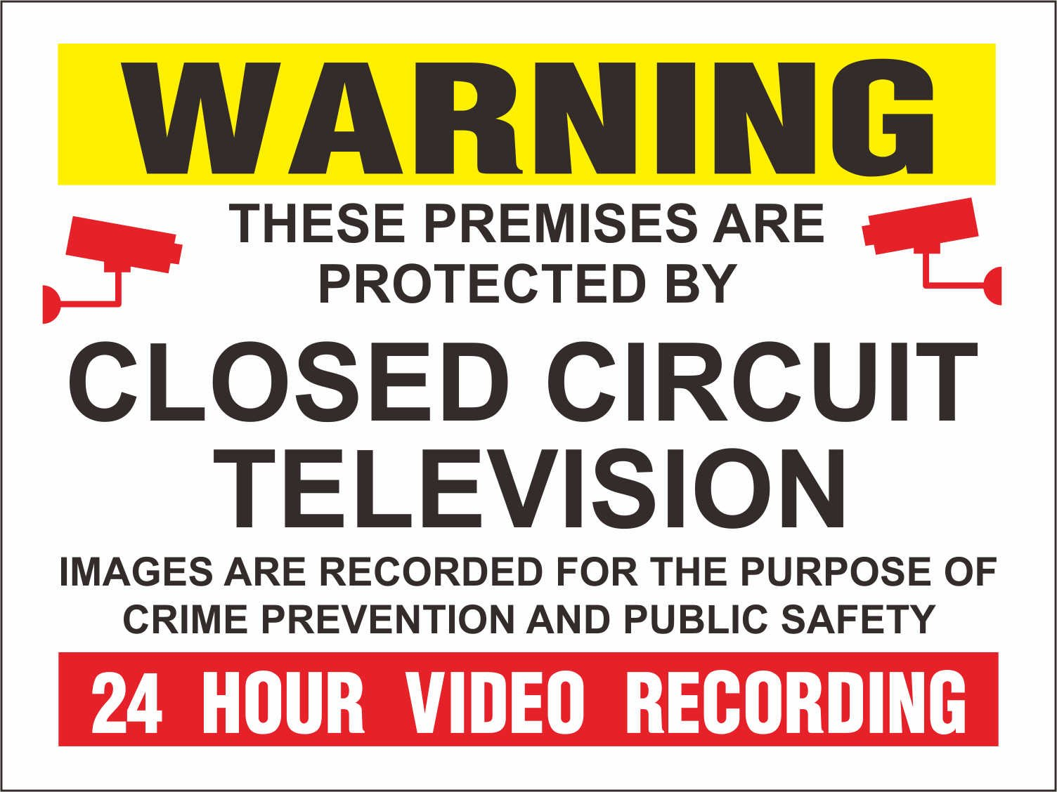 INDIGOS UG - Sticker - Safety - Warning - Set of 5 pack - Warning CCTV Closed Circuit Television 24 Hour Video Recording 20x15cm - Decal for Office/Company/School/Hotel