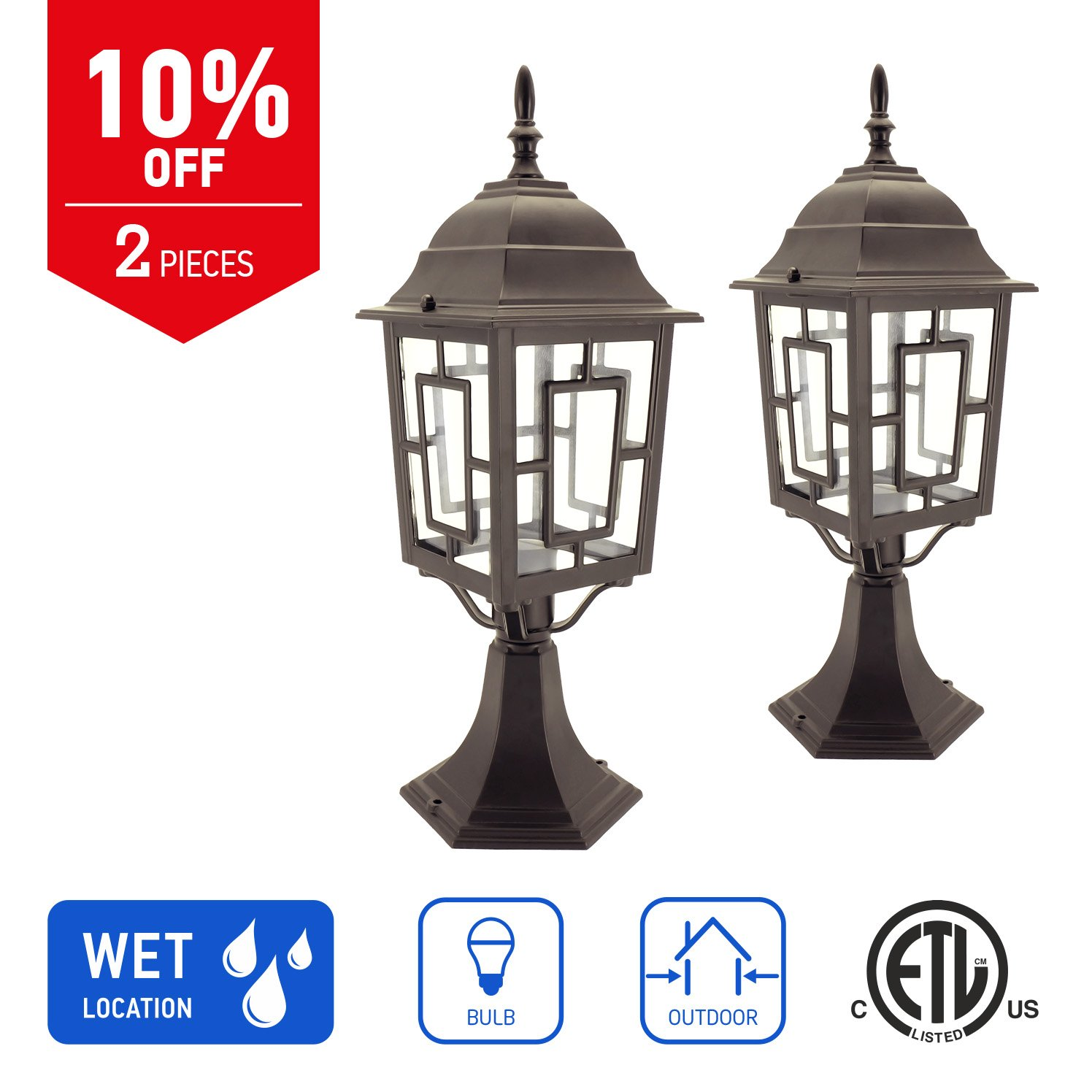 IN HOME 1-Light Outdoor Garden Post Lantern L05 Lighting Fixture, Traditional Post Lamp Patio with One E26 Base, Water-Proof, Bronze Cast Aluminum Housing, Clear Glass Panels, (2 Pack) ETL Listed