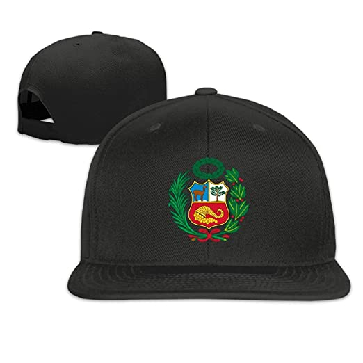 Vhfnjs Snapbacks Adult Peru Flag Plain Hip Hop Black Hat Sports