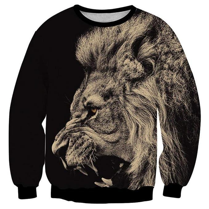 Sudadera para Hombre Big Lion Print Animal Clothing 3D Cool Jacket Diseño De Cómodo Moda Sudaderas Tops Homme Hoodies: Amazon.es: Ropa y accesorios