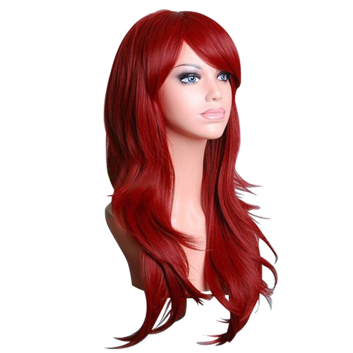 Red Wig, Acecharming Women's Ladies Dark Red Long Fashion Natural Full Curly Wig Cosplay Wigs Party Wig with Cap 50973