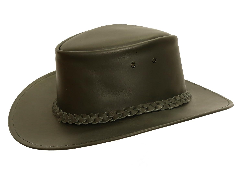 Kakadu Lederhut Colonial in braun und schwarz geschwungene Krempe geflochtenes Hutband | Herren Damen Größe | 2.Wahl