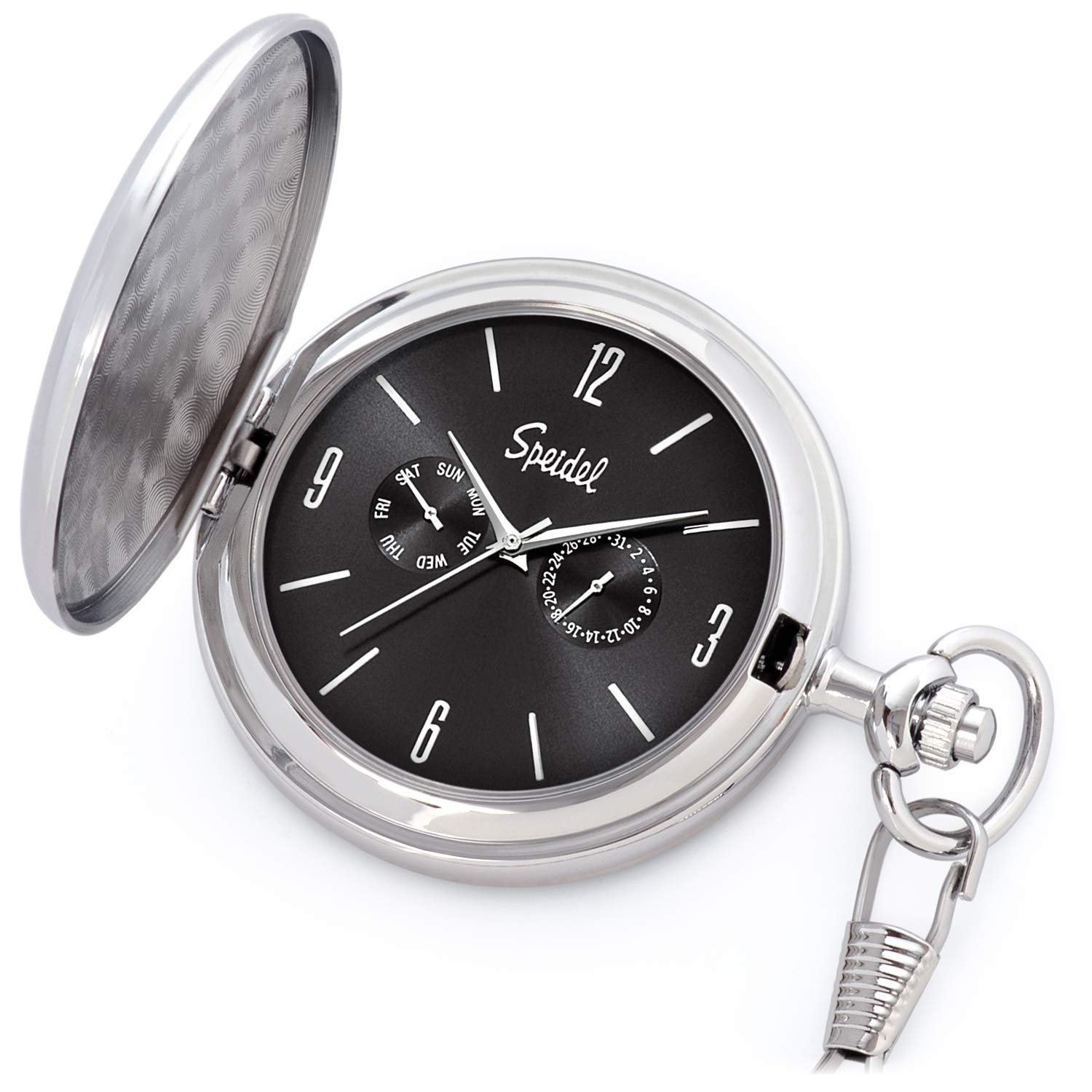 Speidel Classic Brushed Satin Silver-Tone Engravable Pocket Watch with 14'' Chain, Black Dial, Seconds Hand, Day and Date Sub-Dials