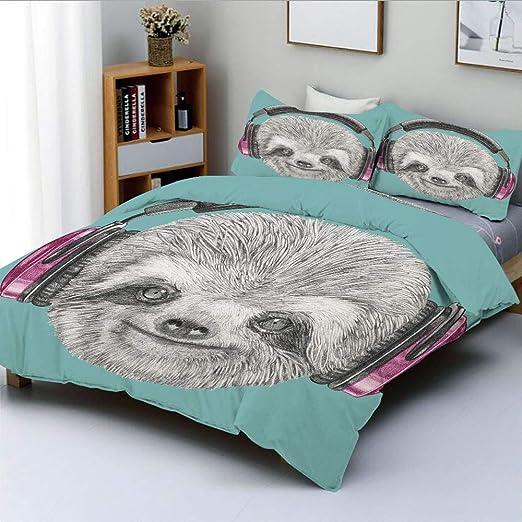 Sloth Quilted Bedspread /& Pillow Shams Set DJ Sloth Headphones Print