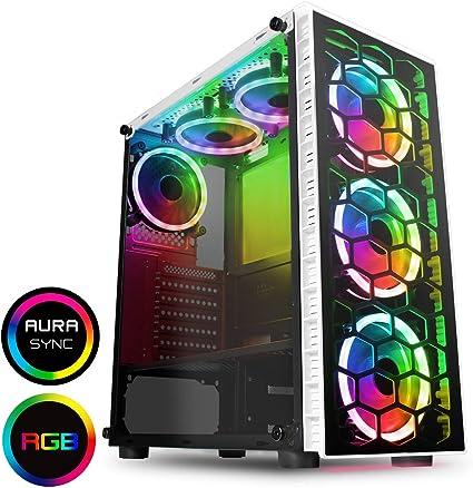 CiT Raider - Estuche para Juegos de PC, ATX de Media Torre, 6 x Halo Dual – RGB,