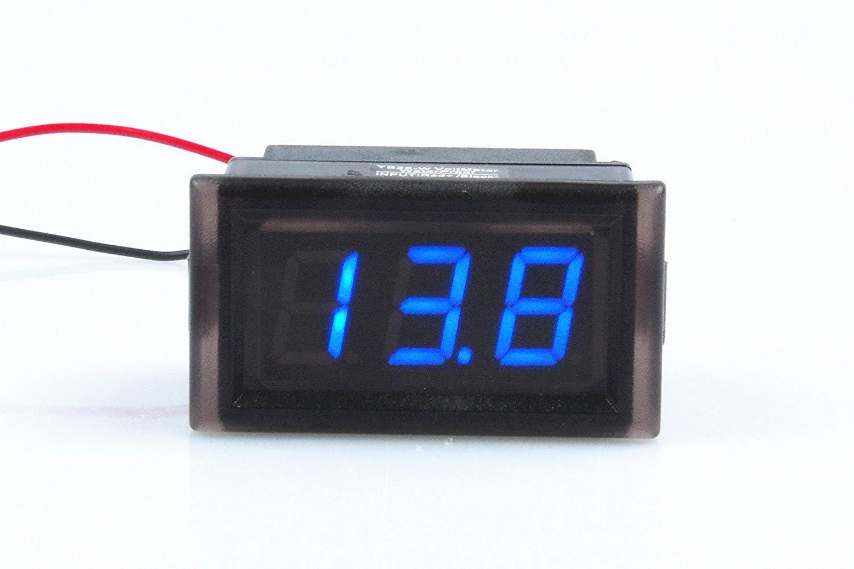 Waterproof Monitor 2-Wires DC 3.5-150v 12v 24v 36v 72v 96v Volt Battery Meter Voltage Tester Automative Electric Cars Gauge Small Digital Voltmeter BLUE 0.52'' LED Display