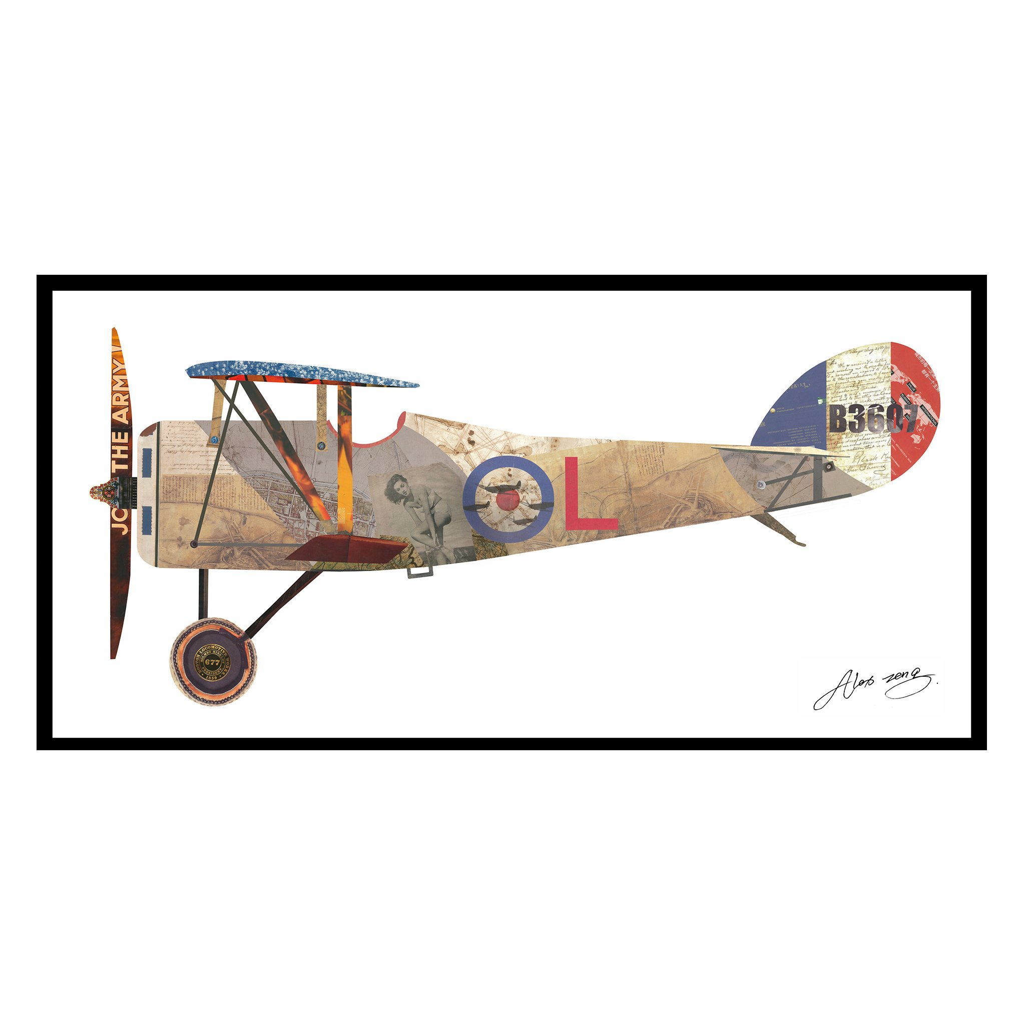 Empire Art Direct ''Antique Biplane #1'' Original Dimensional Collage Hand Signed by Alex Zeng Framed Graphic Wall Art (White Background)