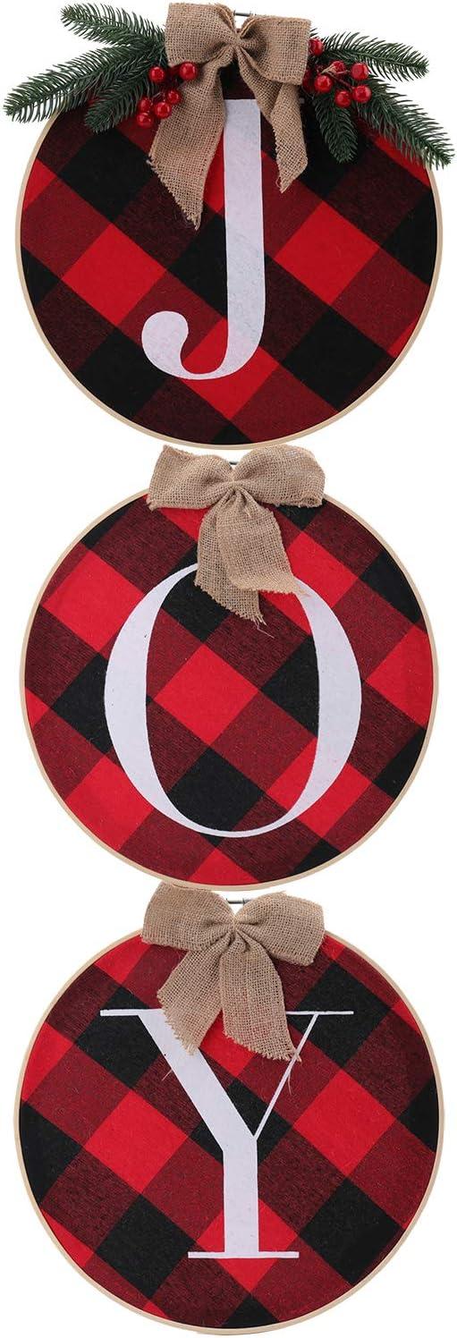 Jucoan Christmas Joy Sign, Buffalo Check Plain Wreath for Front Door Rustic Burlap Wooden Hanging Decor, Xmas Holiday Indoor Home Ornament