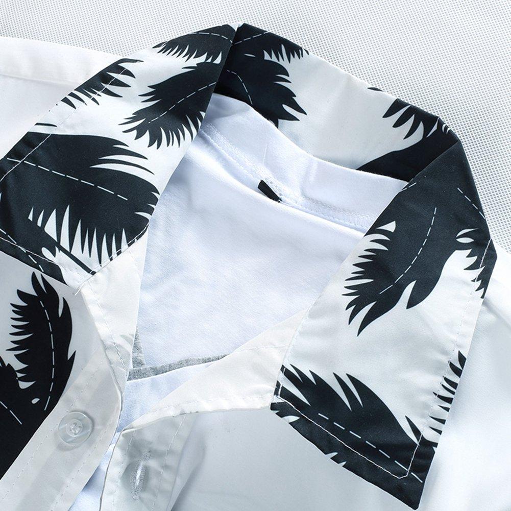 Asian-Size4,M QHF Mens Hawaiian Printed Shir Male Casual Printed Beach Shirts Short Sleeve