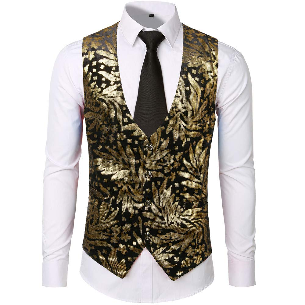 Puyujin Mens New Flannelette Fashion Casual Stamped Gold Jacket