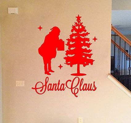 Christmas Vinyl Decals.Amazon Com Santa Claus With Christmas Tree Vinyl Decals