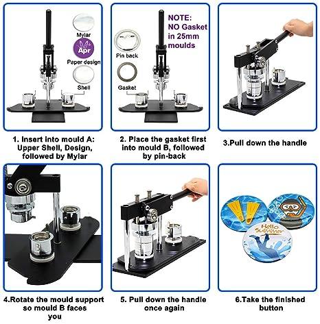 chibuttons (Kit) 25 mm (1 pulg.) insignia botón máquina eléctrica ...