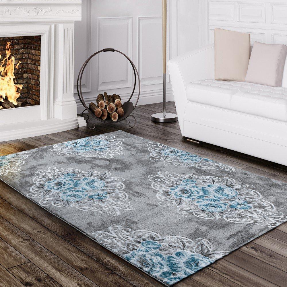 Paco Home Designer Teppich Edel Mit Vintage Blumen Muster Meliert In Grau Creme Türkis, Grösse 200x290 cm