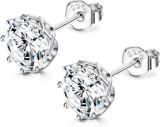 925 Sterling Silver Clear CZ Flower Shape Stud Earrings For Women Wedding