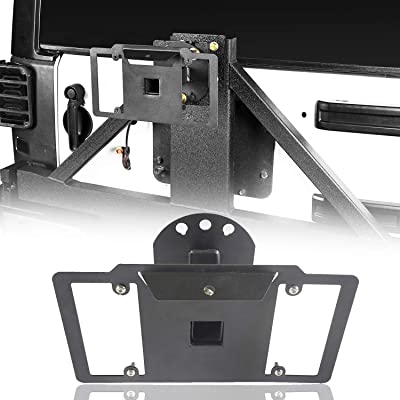 Hooke Road Spare Tire License Plate Relocation Mounting for 1997-2020 Jeep Wrangler TJ & JK Rubicon Sahara Sport 2 Door & Unlimited 4 Door: Automotive