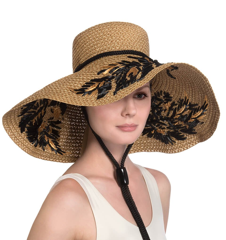 Eric Javits Luxury Fashion Designer Women's Headwear Hat - Tahiti - Natural/Black