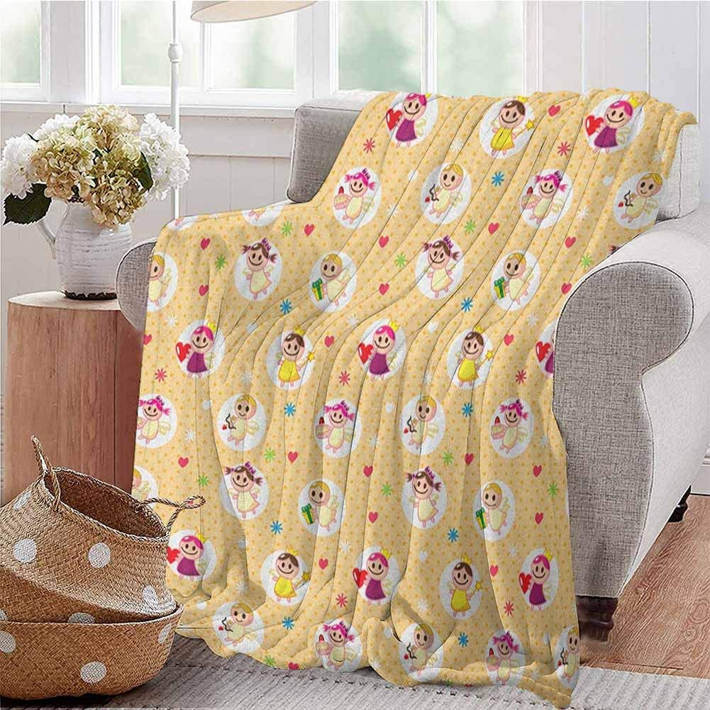 Luoiaax Angel Bedding Flannel Blanket Childhood Baby Nursery Kids Motherly Love Playroom Toddler Polka Dots Graphic Super Soft and Comfortable Luxury Bed Blanket W70 x L84 Inch Pale Yellow White
